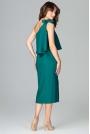 Zielona Koktajlowa Dopasowana Sukienka na Jedno Ramię