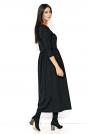 Czarna Długa Sukienka z Kopertowym Dekoltem