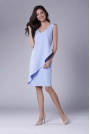 Błękitna Dopasowana Sukienka bez Rękawów z Asymetryczną Falbaną