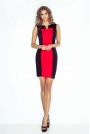 Czerno Czerwona Sukienka Dopasowana Dwubarwna bez Rękawów