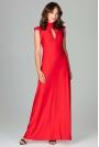 Czerwona Subtelna Długa Sukienka z Falbankami