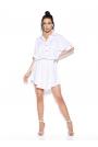 Biała Sukienka z Koszulowym Kołnierzykiem