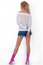 Biały Sweter Ażurowy z Ozdobnymi Tasiemkami