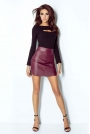 Bordowa Kobieca Spódnica Mini z Eko-skóry