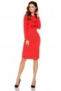 Czerwona Elegancka Wizytowa Sukienka z Żabotem