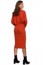 Kimonowa Sukienka z Ołówkowym Dołem - Czerwona