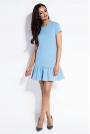 Błękitna Dresowa Sukienka z Falbanką na Dole