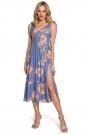 Midi Sukienka na Ramiączkach z Kwiatowym Nadrukiem - Model 1