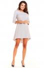 Szara Koktajlowa Asymetryczna Sukienka z Kontrą