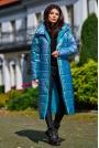 Połyskujący Pikowany Płaszcz Zapinany na Napy - Niebieski