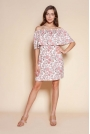 Krótka Sukienka z Hiszpańskim Dekoltem - Różowa