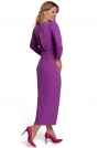 Długa Sukienka z Pęknięciem na Plecach - Lawendowa
