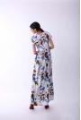 Długa Kwiatowa Sukienka na Krótki Rękaw