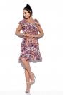 Wzorzysta Sukienka Wiązana na Jedno Ramię - Druk 19