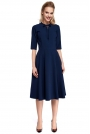 Granatowa Sukienka Elegancka Rozkloszowana z Wiązaniem przy Dekolcie