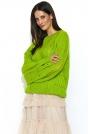 Limonkowa Luźny Sweter z Ażurowym Wzorem