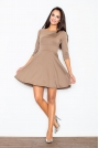 Beżowa Elegancka Sukienka z Rozkloszowanym Dołem