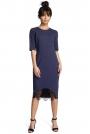 Niebieska Dopasowana Sukienka Midi z Koronką