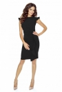 Czarna Sukienka Mini z Falbaną i Motylkowym Rękawkiem