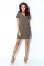 Khaki Sukienka Trapezowa Krótka z Chockerem