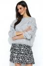 Szary Oversizowy Sweter z Ażurowym Rękawem