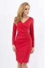 Czerwona Wizytowa Marszczona Sukienka z Głębokim Dekoltem
