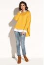 Żółty Asymetryczny Sweter z  Dekoltem w Łódkę