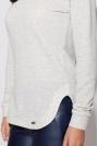 Jasno Szary Sweter z Białym Koszulowym Kołnierzykiem