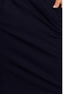 Granatowa Codzienna Zbluzowana Sukienka z Dekoltem na Plecach