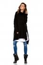 Czarny Asymetryczny Swobodny Sweter w Warkocze z Golfem