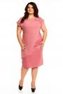 Pudrowa Wieczorowa Sukienka Plus Size z Ozdobną Nakładką