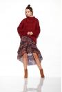 Bordowy Oversizowy Ciepły Sweter z Półgolfem