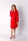 Czerwony Elegancki Płaszcz z Falbanką na Rękawie
