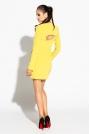 Żółto Limonkowa Prosta Sukienka z Rozciętymi Długimi Rękawami
