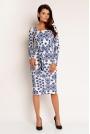Biało-niebieska Elegancka Sukienka z Dekoltem Cargo z długim Rękawem