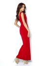 Czerwona Wieczorowa Sukienka z Głębokim Dekoltem V