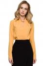 Żółta Elegancka Bluzka z Przeplecioną Stójką