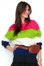 Malinowo-Granatowy Sweter w Kolorowe Paski z Łódkowym Dekoltem