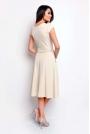 Beżowa Wyjściowa Rozkloszowana Sukienka z Dekoltem Karo