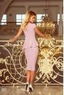 Różowa Elegancka Ołówkowa Sukienka Midi z Asymetryczną Baskinką