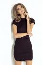 Dopasowana Czarna Sukienka Mini z Zaokrąglonym Dołem