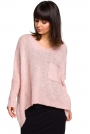 Różowy Asymetryczny Oversizowy Sweter z Kieszonką