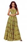 Złota Długa Rozkloszowana Sukienka z Dekoltem V