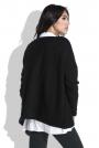 Czarny Luźny Sweter z Dekoltem V