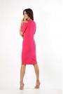 Różowa Klasyczna Ołówkowa Sukienka Open Shoulder