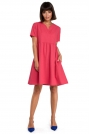 Różowa Rozkloszowana Sukienka Mini Odcinana pod Biustem