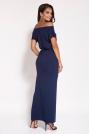 Granatowa Sukienka Maxi z Dekoltem w Łódkę