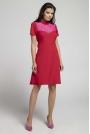 Czerwona Wizytowa Rozkloszowana Sukienka z Koronką