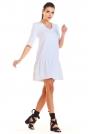 Biała Sukienka z Dekoltem V z Falbanką u Dołu