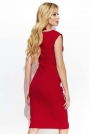 Czerwona Wizytowa Dopasowana Sukienka z Ozdobnym Drapowaniem
